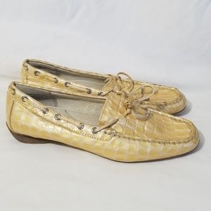 Sperry Champagne Croc Patent Leather Boatshoes 6.5